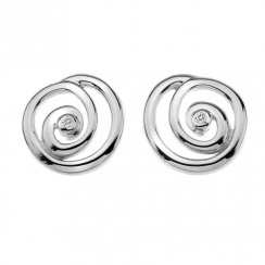 Eternity Spiral Stud Silver Earrings