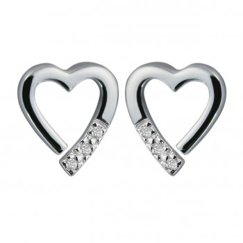 Hot Diamonds Just Add Love Memories Silver Heart Earrings