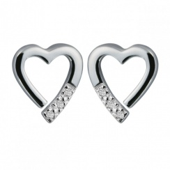 Just Add Love Memories Silver Heart Earrings