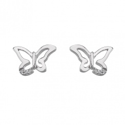 Micro Flutter Butterfly Stud Silver Earrings
