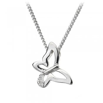 Hot Diamonds Micro Flutter Silver Butterfly Pendant
