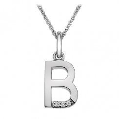 Micro Letter B Silver Pendant
