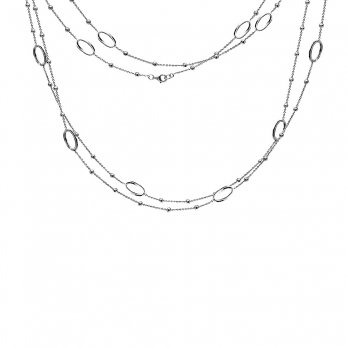 Hot Diamonds Orbit Open Oval Silver Necklace