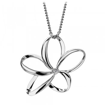 Hot Diamonds Paradise Large Open Petal Silver Flower Pendant