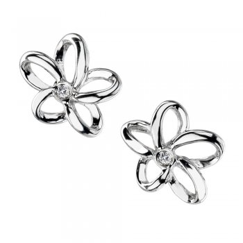 Hot Diamonds Paradise Open Petal Silver Stud Earrings
