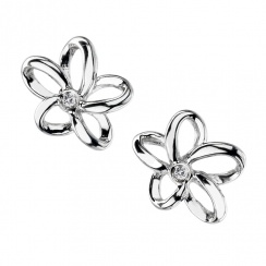 Paradise Open Petal Silver Stud Earrings