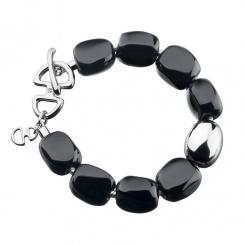Selene Black Agate Twilight Silver Bracelet