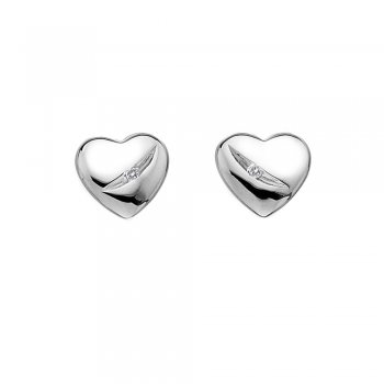 Hot Diamonds Shooting Stars Silver Heart Earrings