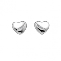 Shooting Stars Silver Heart Earrings