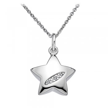 Hot Diamonds Shooting Stars Silver Heart Pendant
