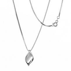 Simply Sparkle Pavé Leaf Silver Pendant