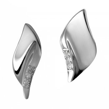 Hot Diamonds Simply Sparkle Pavé Leaf Silver Stud Earrings