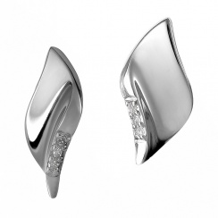 Simply Sparkle Pavé Leaf Silver Stud Earrings