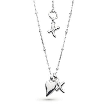 Kit Heath Desire Kiss Rhodium Plate Heart & 'X' Ball Chain Necklace