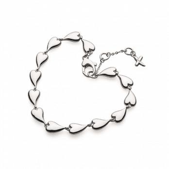 Kit Heath Desire Kiss Rhodium Plate Linking Hearts Bracelet