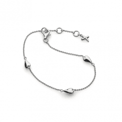 Kit Heath Desire Kiss Rhodium Plate Mini Heart Bracelet