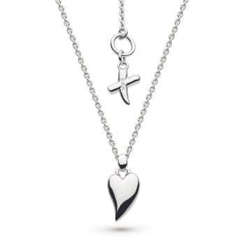 Kit Heath Desire Kiss Rhodium Plate Mini Heart Necklace