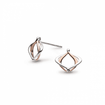 Kit Heath Entwine Alicia Small Silver & Rose Gold plated Stud Earrings