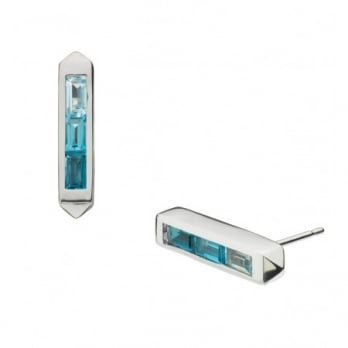 Kit Heath Little Manhattan Blue Topaz Ombre Stud Earrings