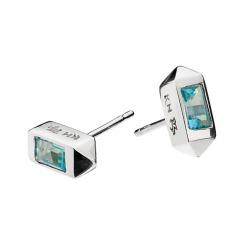 Mini Topaz Stud Earrings, Silver/Sky Blue