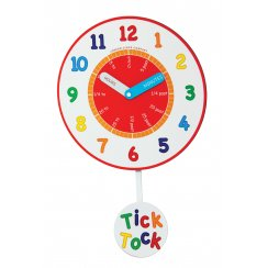 Childrens Tell the Time Pendulum Wall Clock