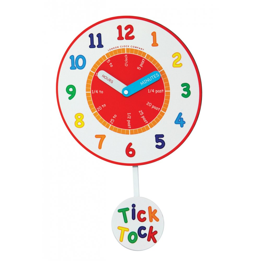 London Clock Company Childrens Tell The Time Pendulum Wall Clock