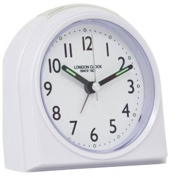 London Clock Company Rounded Top Alarm Clock - White