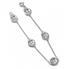 Button Silver Bracelet