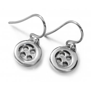 Lucy Q Button Silver Drop Earrings