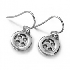 Button Silver Drop Earrings