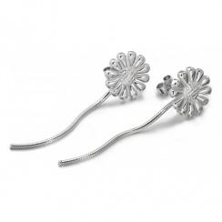 Flower Silver Drop Earrings
