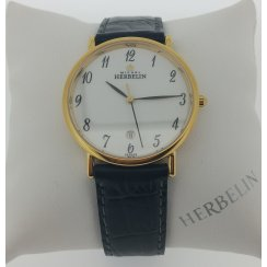 Michel Herbelin Mens 18ct Gold Plated Sonates black leather croco-grain Strap Watch
