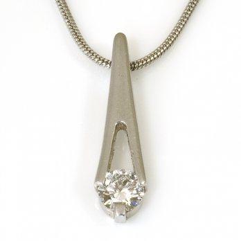 Platinum Diamond Set Drop Pendant on Snake Chain