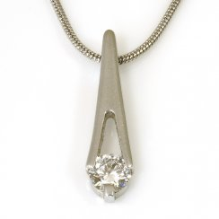 Platinum Diamond Set Drop Pendant on Snake Chain