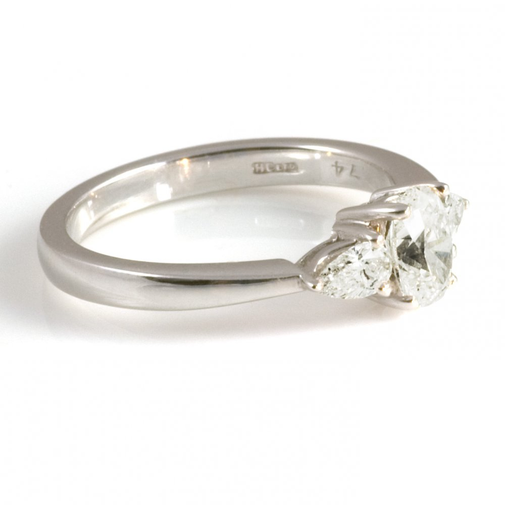 platinum oval and pear ring