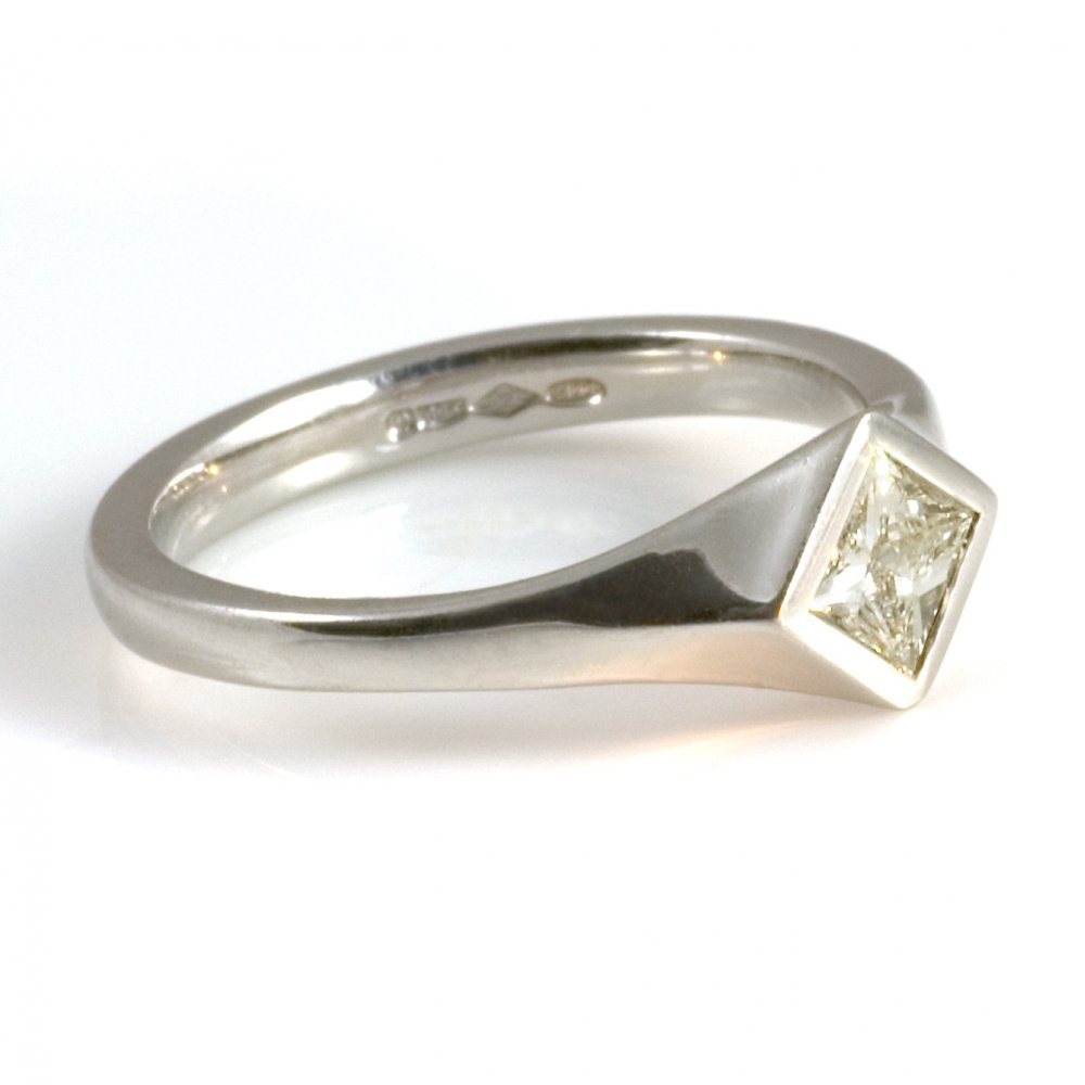 platinum princess cut engagement ring from