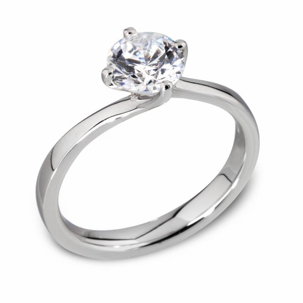 platinum twisted setting engagement ring