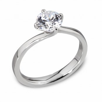 Platinum Twisted Setting Diamond Engagement Ring