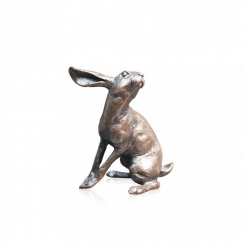 Richard Cooper- Small Hare Listening Bronze Sculpture