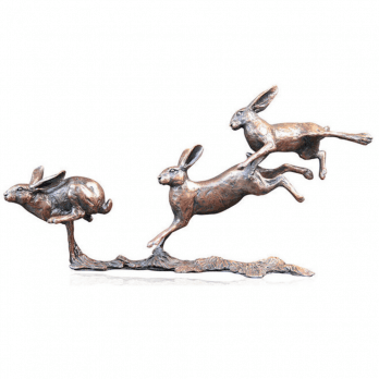 Richard Cooper Bronze Richard Cooper - Small Hares Running Bronze Sculpture