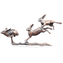 Richard Cooper - Small Hares Running Bronze Sculpture