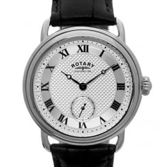 Rotary Mens Stainless Steel Sherlock Watch on Leather Strap