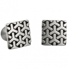 Oriental Y Square Pewter Cufflinks