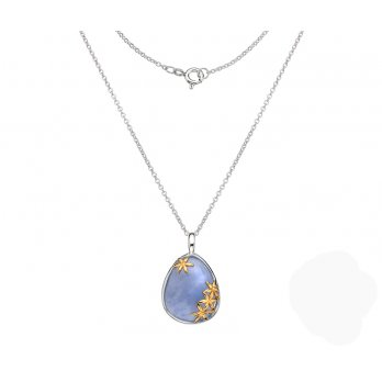 Sterling Silver Blue Chalcedony Pendant Gold Plated