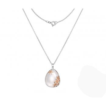 Sterling Silver Mother of Pearl Pendant Rose Gold Plated