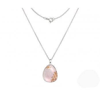 Sterling Silver Rose Quartz Pendant Rose Gold Plated