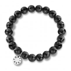 Faceted Black Onyx 8mm Elasticated Silver Bracelet