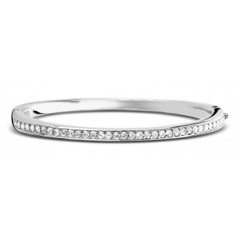 Ti Sento Rhodium Plated Silver Cubic Zirconia Set Bangle