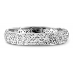 Rhodium Plated Silver Cubic Zirconia Set Bangle