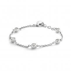Rhodium Plated Silver Cubic Zirconia Set Bracelet